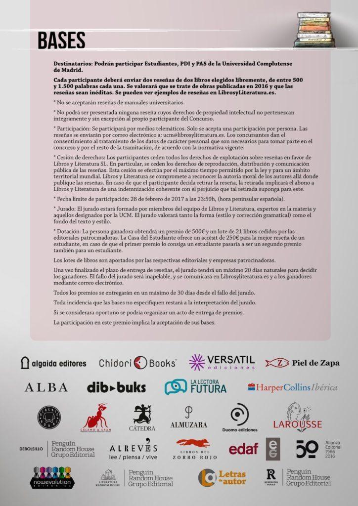 Cartel concurso UCM - Libros y Literatura